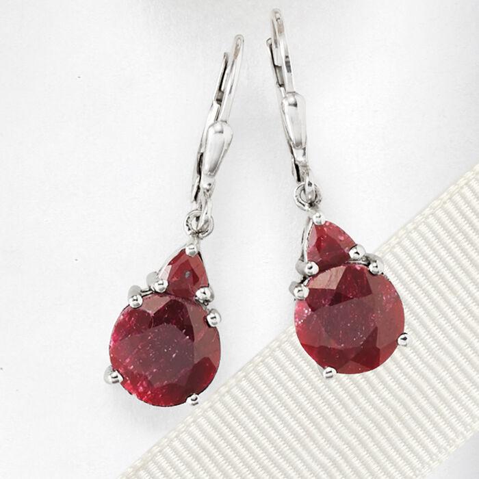 6.50 ct. t.w. Ruby Drop Earrings in Sterling Silver