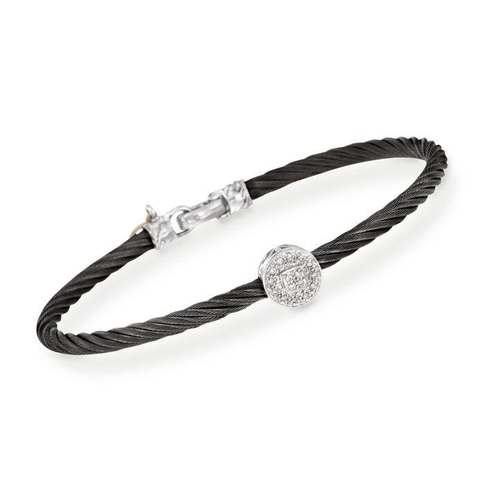 "ALOR ""Noir"" Black Cable Station Bracelet with Diamond Accent and 18kt White Gold"