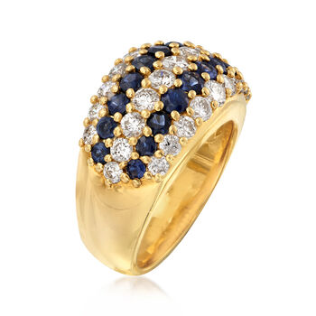 C. 1990 Vintage 1.73 ct. t.w. Diamond and 1.37 ct. t.w. Sapphire Multi-Row Ring in 18kt Yellow Gold. Size 6.25, , default