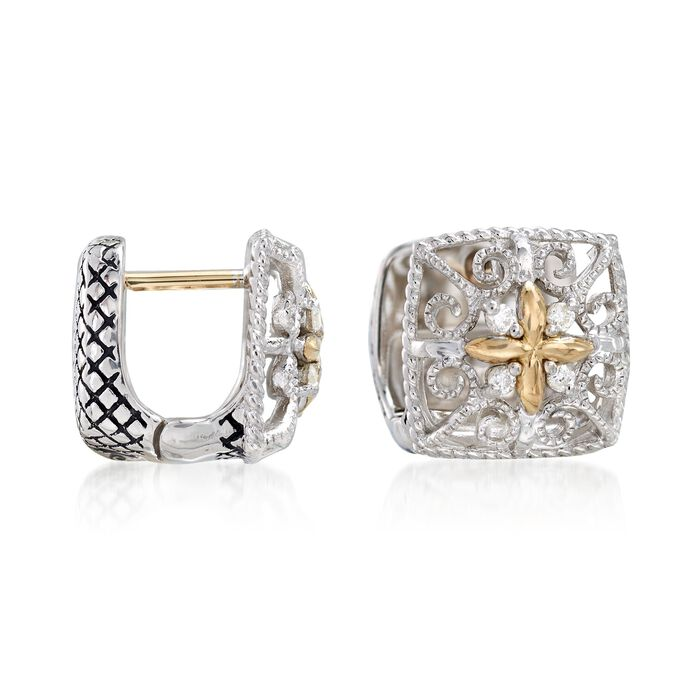 """Andrea Candela Sterling Silver and 18kt Yellow Gold Square Huggie Hoop Earrings with Diamond Accents. 3/8"""""""