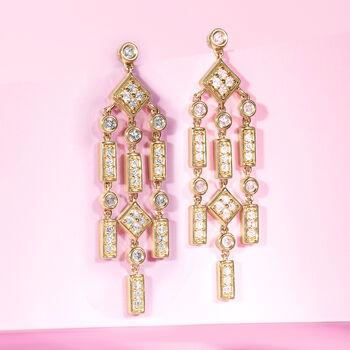 1.00 ct. t.w. Diamond Chandelier Drop Earrings in 14kt Yellow Gold