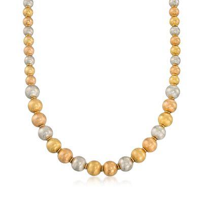 C. 1990 Vintage 6-8mm 18kt Tri-Colored Gold Textured Bead Necklace, , default
