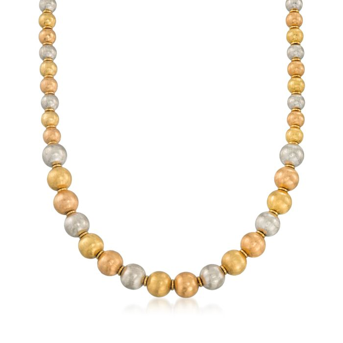 """C. 1990 Vintage 6-8mm 18kt Tri-Colored Gold Textured Bead Necklace. 18"""""""