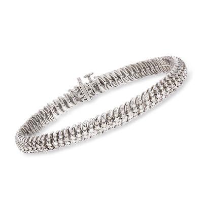 3.00 ct. t.w. Diamond S-Link Bracelet in Sterling Silver, , default