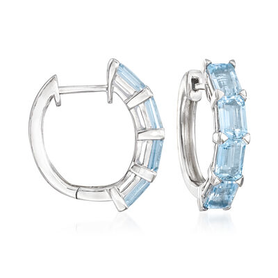 4.00 ct. t.w. Aquamarine Hoop Earrings in Sterling Silver