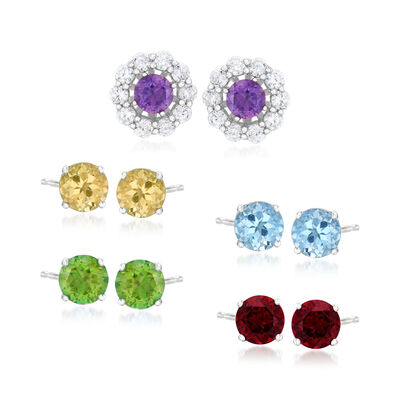 6.50 ct. t.w. Multi-Gemstone Jewelry Set: Five Pairs of Stud Earrings with Earring Jackets in Sterling Silver, , default