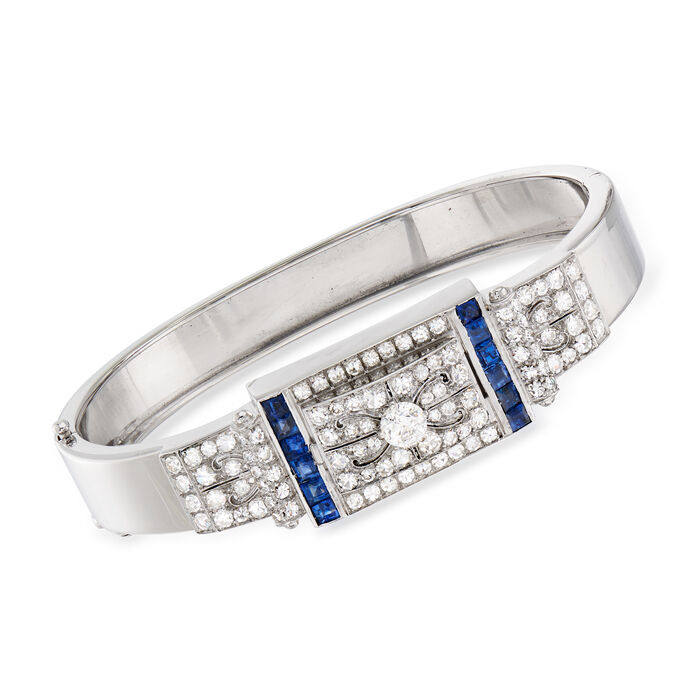 "C. 1950 Vintage 2.60 ct. t.w. Diamond and 1.50 ct. t.w. Sapphire Bangle Bracelet in 14kt White Gold. 7"", , default"