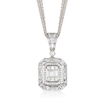 "1.28 ct. t.w. Baguette and Round Diamond Mosaic Pendant Necklace in 18kt White Gold. 18"", , default"