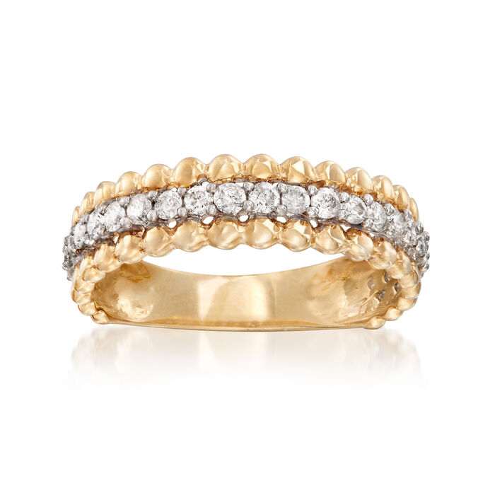.50 ct. t.w. Diamond Beaded-Edge Ring in 14kt Yellow Gold, , default