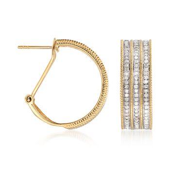"1.00 ct. t.w. Multi-Row Diamond Hoop Earrings in 18kt Gold Over Sterling. 7/8"", , default"
