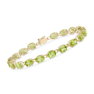 15.00 ct. t.w. Oval Peridot Bracelet in 14kt Yellow Gold, , default