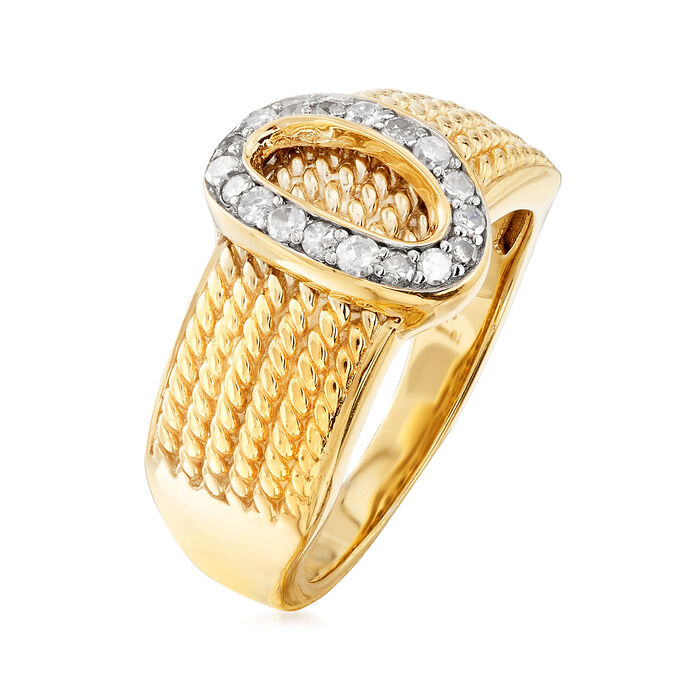 .25 ct. t.w. Diamond Buckle Ring in Two-Tone Sterling Silver