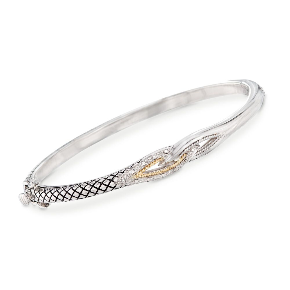 Andrea Candela Sterling Silver And 18kt Gold Bangle Bracelet With Diamond Accents 7