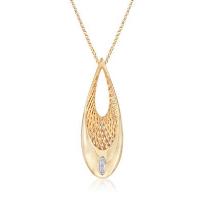 "Roberto Coin ""Golden Gate"" Oval Pendant Necklace With Diamond Accents in 18kt Yellow Gold, , default"