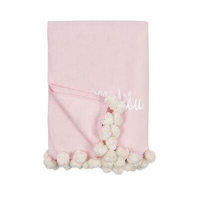 Pink and Ivory Pom Pom Throw Blanket, , default