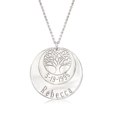 Italian Sterling Silver Personalized Tree of Life Pendant Necklace, , default