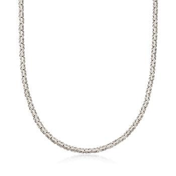 Sterling Silver Flat Byzantine Necklace