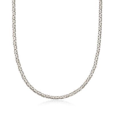 Sterling Silver Flat Byzantine Necklace, , default