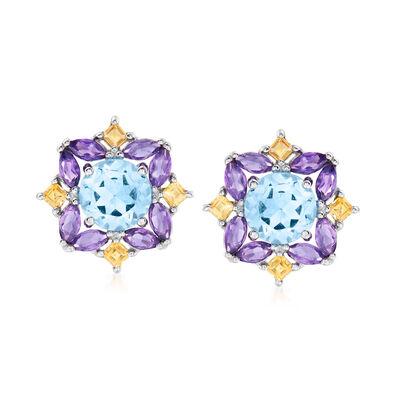 3.10 ct. t.w. Blue Topaz, 1.10 ct. t.w. Amethyst and .30 ct. t.w. Citrine Earrings in Sterling Silver