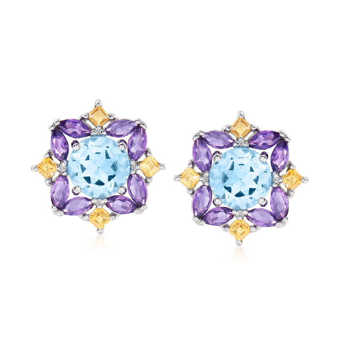 3.10 ct. t.w. Blue Topaz, 1.10 ct. t.w. Amethyst and .30 ct. t.w. Citrine Earrings in Sterling Silver