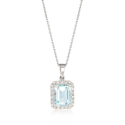 2.20 Carat Aquamarine and .22 ct. t.w. Diamond Pendant Necklace in 14kt White Gold, , default