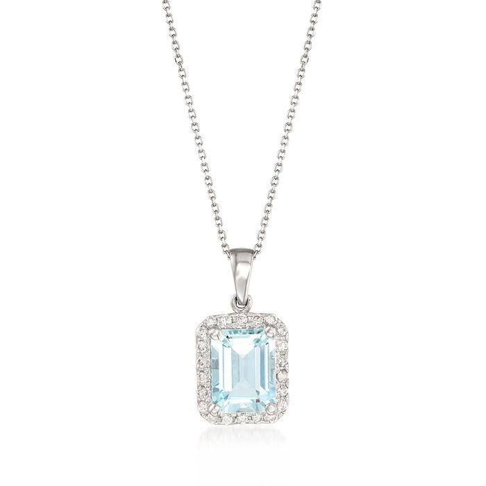 "2.20 Carat Aquamarine and .22 ct. t.w. Diamond Pendant Necklace in 14kt White Gold. 16"", , default"