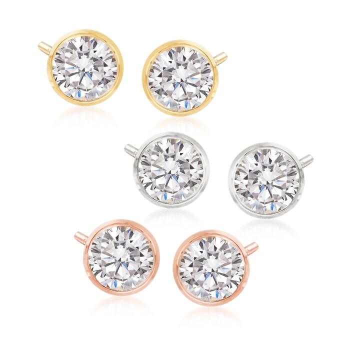 6.00 ct. t.w. CZ Jewelry Set: Three Pairs of Bezel-Set Stud Earrings in Tri-Colored Sterling Silver, , default