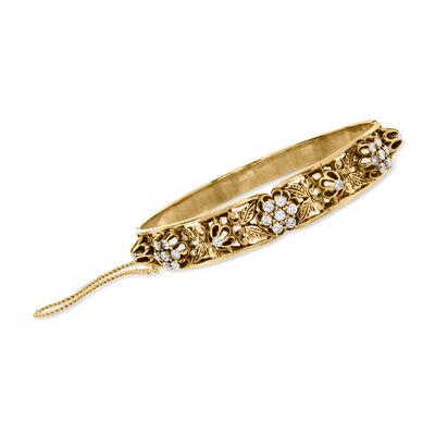 C. 1940 Vintage 1.25 ct. t.w. Diamond Flower Bracelet in 10kt Yellow Gold