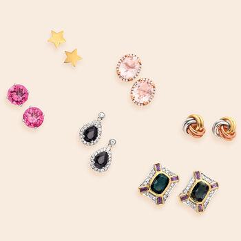 18kt Yellow Gold Star Stud Earrings, , default