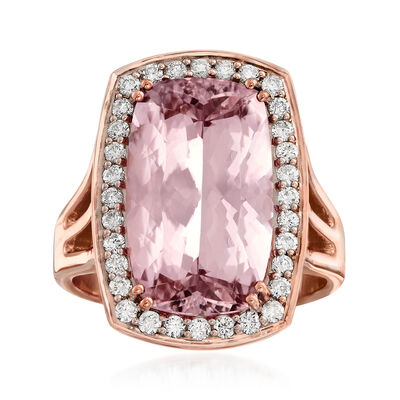6.75 Carat Morganite and .44 ct. t.w. Diamond Ring in 14kt Rose Gold, , default