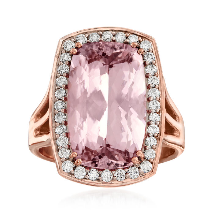 6.75 Carat Morganite and .44 ct. t.w. Diamond Ring in 14kt Rose Gold. Size 7