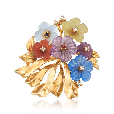 C. 1990 Vintage Multi-Gem and .12 ct. t.w. Diamond Flower Pin in 14kt Yellow Gold, , default