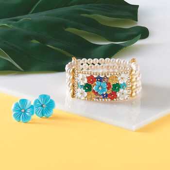 Italian Simulated Turquoise Flower Earrings in 18kt Gold Over Sterling, , default