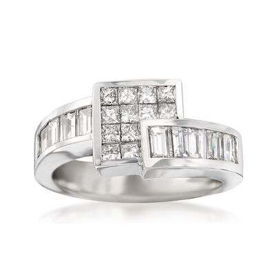 1.50 ct. t.w. Princess and Baguette Diamond Square Bypass Ring in 14kt White Gold, , default