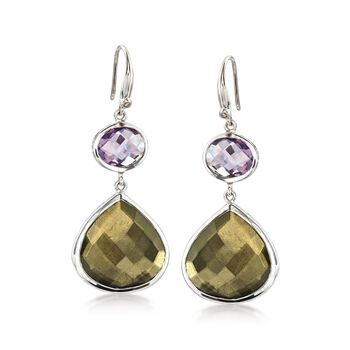 Pyrite Doublet and 6.00 ct. t.w. Amethyst Earrings With Champagne Diamonds in Sterling Silver, , default