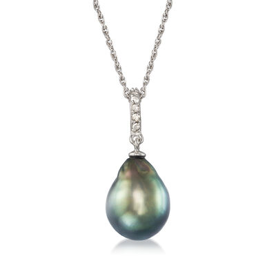 11-12mm Black Cultured Tahitian Pearl Pendant Necklace with .10 ct. t.w. Diamond in Sterling Silver, , default