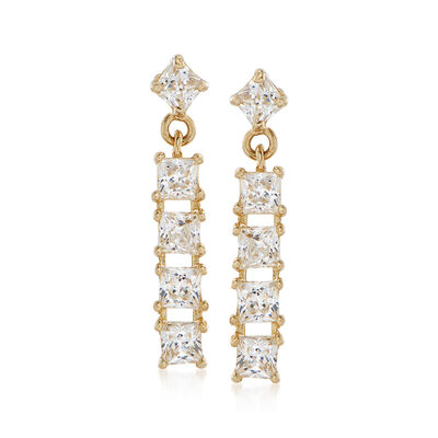 .50 ct. t.w. Princess-Cut CZ Bar Drop Earrings in 14kt Yellow Gold