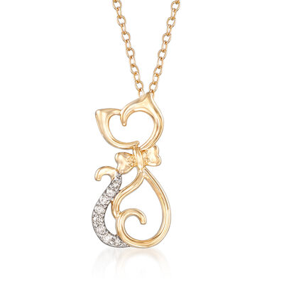Cat Pendant Necklace with Diamond Accents in 14kt Yellow Gold, , default