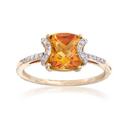 1.70 Carat Cushion-Cut Citrine and .12 ct. t.w. Diamond Ring in 14kt Yellow Gold, , default