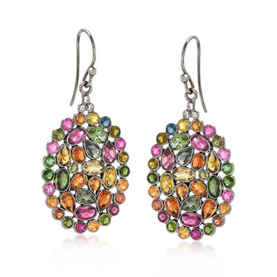 8.10 ct. t.w. Multicolored Tourmaline Drop Earrings with White Topaz Accents, , default