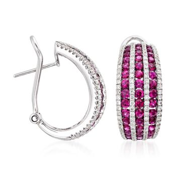 """2.70 ct. t.w. Ruby and 1.00 ct. t.w. Diamond Hoop Earrings in 18kt White Gold. 7/8"""""""