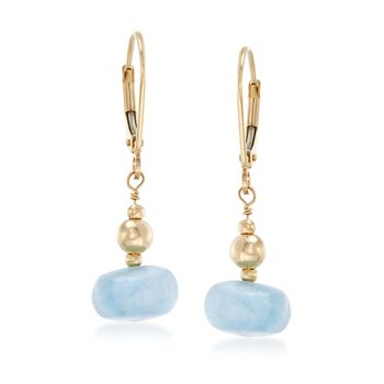 "Milky Aquamarine Bead Drop Earrings in 14kt Yellow Gold. 1 1/8"", , default"