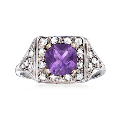 C. 1930 Vintage 1.00 Carat Amethyst and .30 ct. t.w. Diamond Ring in 18kt White Gold
