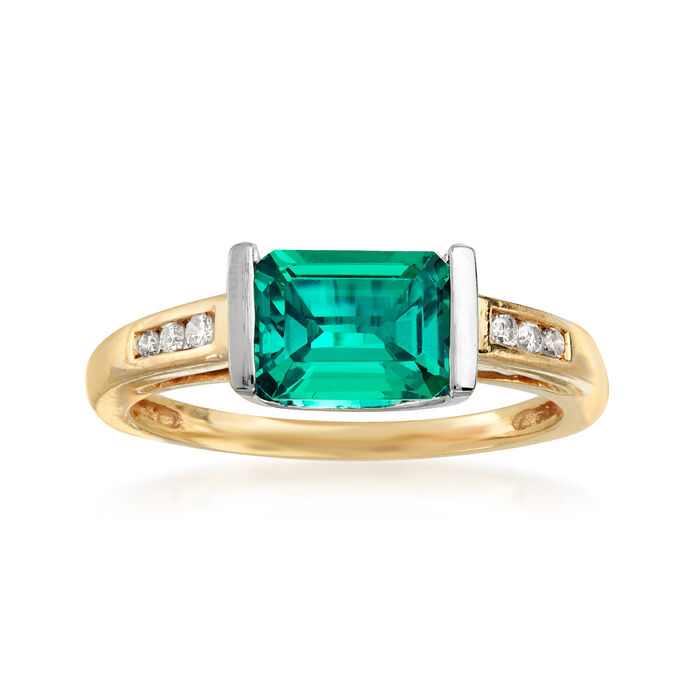 C. 1980 Vintage 1.35 Carat Synthetic Emerald and .10 ct. t.w. Diamond Ring in 10kt Yellow Gold. Size 7, , default