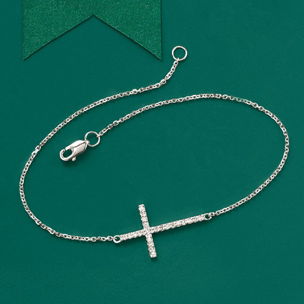 Default 14kt White Gold Sideways Cross Bracelet With Diamonds