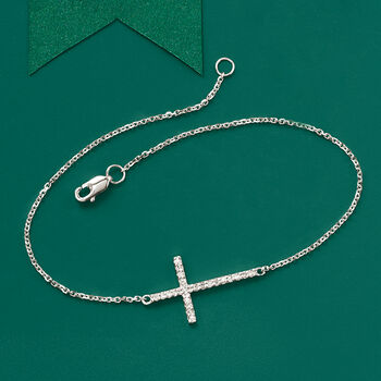 14kt White Gold Sideways Cross Bracelet with Diamonds, , default
