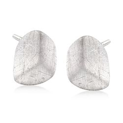 Italian Textured Sterling Silver Nugget Earrings, , default