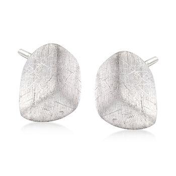 Italian Textured Sterling Silver Nugget Earrings , , default