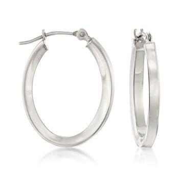 "14kt White Gold Oval Hoop Earrings. 3/4"", , default"