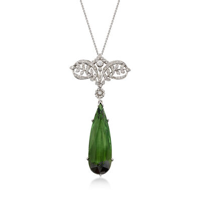 C. 2000 Vintage 15.33 Carat Green Tourmaline and .35 ct. t.w. Diamond Drop Necklace in 18kt White Gold, , default